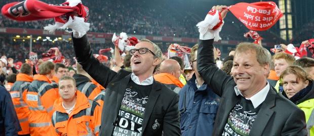 Gute Stimmung beim 1.FC Köln: Neu-Chef Alexander Wehrle (links) hat Oberwasser. Aber die Altschulden lasten schwer auf dem Traditionsklub.