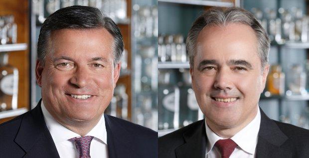 Nach dem Einstieg von Active Ownership: Stada-Chef Hartmut Retzlaff (links) und sein CFO Helmut Kraft müssen sich auf Gegenwind gefasst machen.