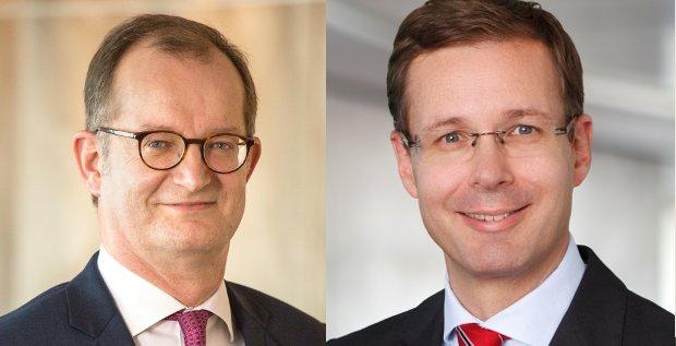 Die Nachfolge von Commerzbank-CEO Martin Blessing wird zum 1. Mai der bisherige Privatkunden-Chef Martin Zielke (links) antreten und nicht der von von vielen favorisierte Firmenkunden-Chef Markus Beumer (rechts).