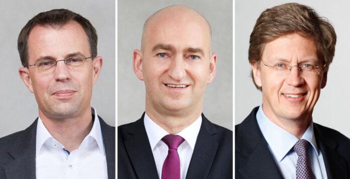 Teilen sich bei der Lufthansa die wichtigsten Finanzaufgaben auf: Jörg Beißel, Wilken Bormann und William Willms (von links nach rechts).