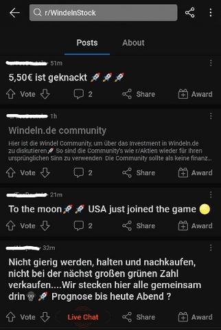 """User der Plattform """"Reddit"""" stacheln sich gegenseitig an, mehr Windeln.de-Aktien zu kaufen. Screenshot: 08.06.2021"""